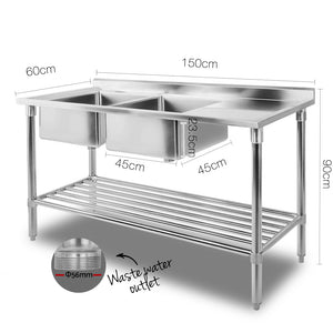 Stainless Steel Sink Bench 150X60 - (Not available in FNQ, TAS, WA & NT or any remote/regional areas)