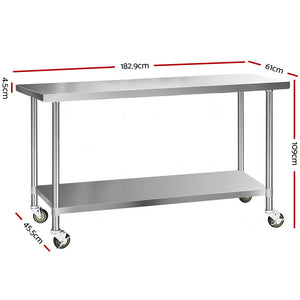 Cefito 304 Stainless Steel Kitchen Benches Work Bench Food Prep Table with Wheels 1829MM x 610MM - (Only available in VIC, NSW, SA & ACT)
