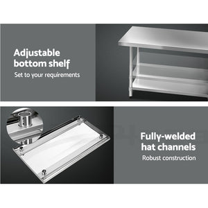 1219 x 762mm Commercial Stainless Steel Kitchen Bench - (excl-Regional QLD & WA, Far Nth QLD, NT & WA Remote)