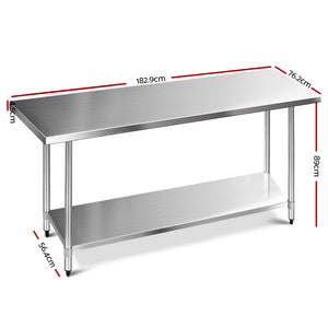 Cefito 1829 x 762mm Commercial Stainless Steel Kitchen Bench - (Only available in VIC, NSW, SA & ACT)