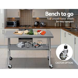 1219 x 762mm Commercial Stainless Steel Kitchen Bench 4pcs Castor Wheels - (VIC NSW SA QLD & ACT only exclude remote/regional areas)