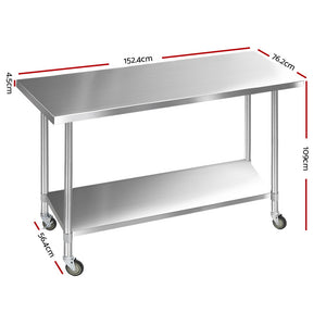 1524 x 762mm Commercial Stainless Steel Kitchen Bench 4pcs Castor Wheels - (VIC NSW SA QLD & ACT only exclude remote/regional areas)
