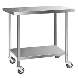 Cefito 430 Stainless Steel Kitchen Benches Work Bench Food Prep Table with Wheels 1219MM x 610MM