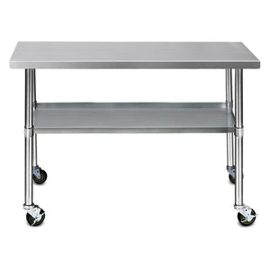 Cefito 430 Stainless Steel Kitchen Benches Work Bench Food Prep Table with Wheels 1219MM x 610MM - (Only available in VIC, NSW, SA & ACT)
