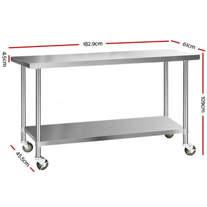Cefito 430 Stainless Steel Kitchen Benches Work Bench Food Prep Table with Wheels 1829MM x 610MM - (Only available in VIC, NSW, SA & ACT)