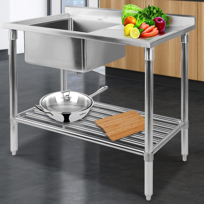 Stainless Steel Sink Bench 100X60 (excl-Regional QLD & WA, Far Nth QLD, NT & WA Remote)