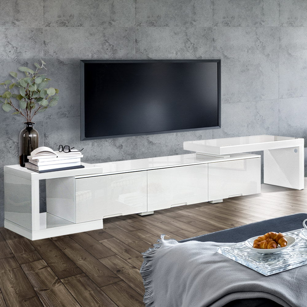 High Gloss Adjustable TV Stand Entertainment Unit 290 cm White - (Not available WA, NT and Far NQ)
