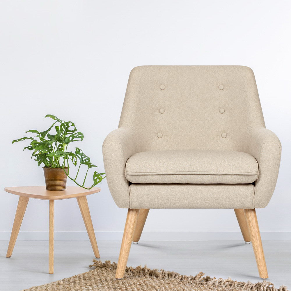Artiss Fabric Dining Armchair - Beige - (Not available in WA or any remote/regional areas)