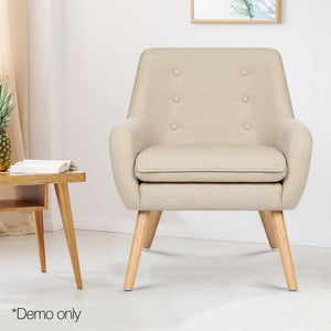 Artiss Fabric Dining Armchair - Beige - (Only available in VIC, NSW, SA & ACT)