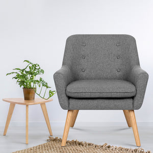 Artiss Fabric Dining Armchair - Grey - (Not available in WA or any remote/regional areas)
