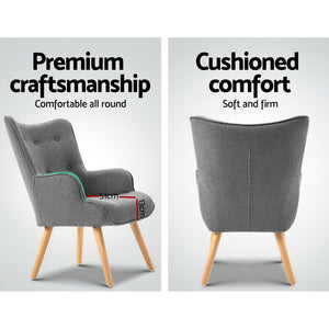 Armchair and Ottoman - Grey - (Only available in VIC, NSW, SA & ACT)