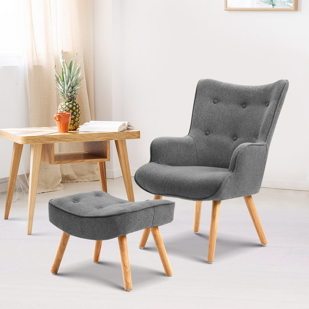 Armchair and Ottoman - Grey - (Not available in TAS, WA & NT or any remote/regional areas)