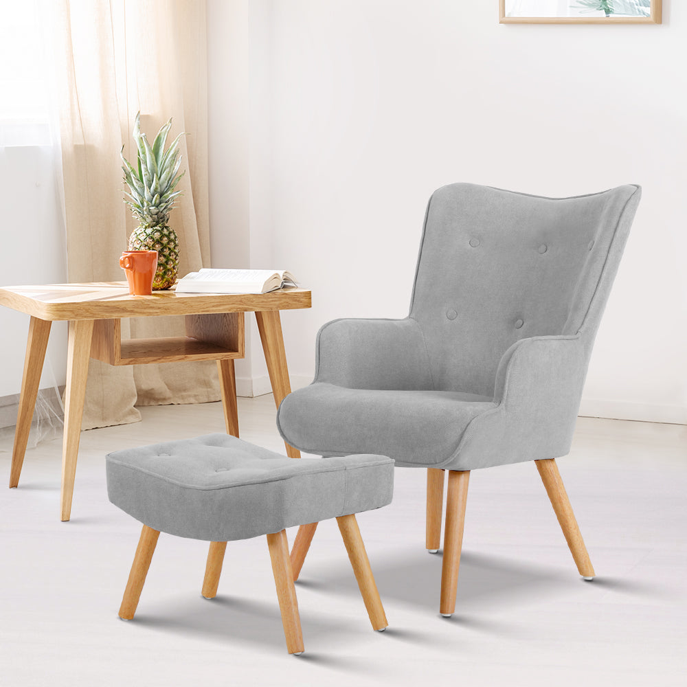 Armchair and Ottoman - Light Grey - (Not available in TAS, WA & NT or any remote/regional areas)