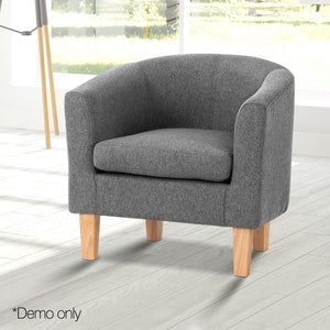 Artiss Abby Fabric Armchair - Grey (excl-Regional QLD & WA, Far Nth QLD, NT & WA Remote)