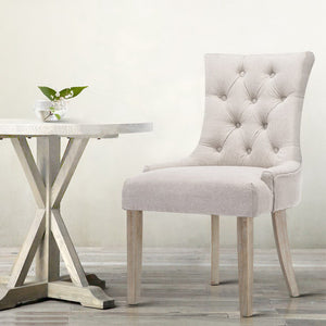 Artiss 2x Dining Chair Beige CAYES French Provincial Chairs Wooden Fabric Retro Cafe - (Not available in WA & NT)