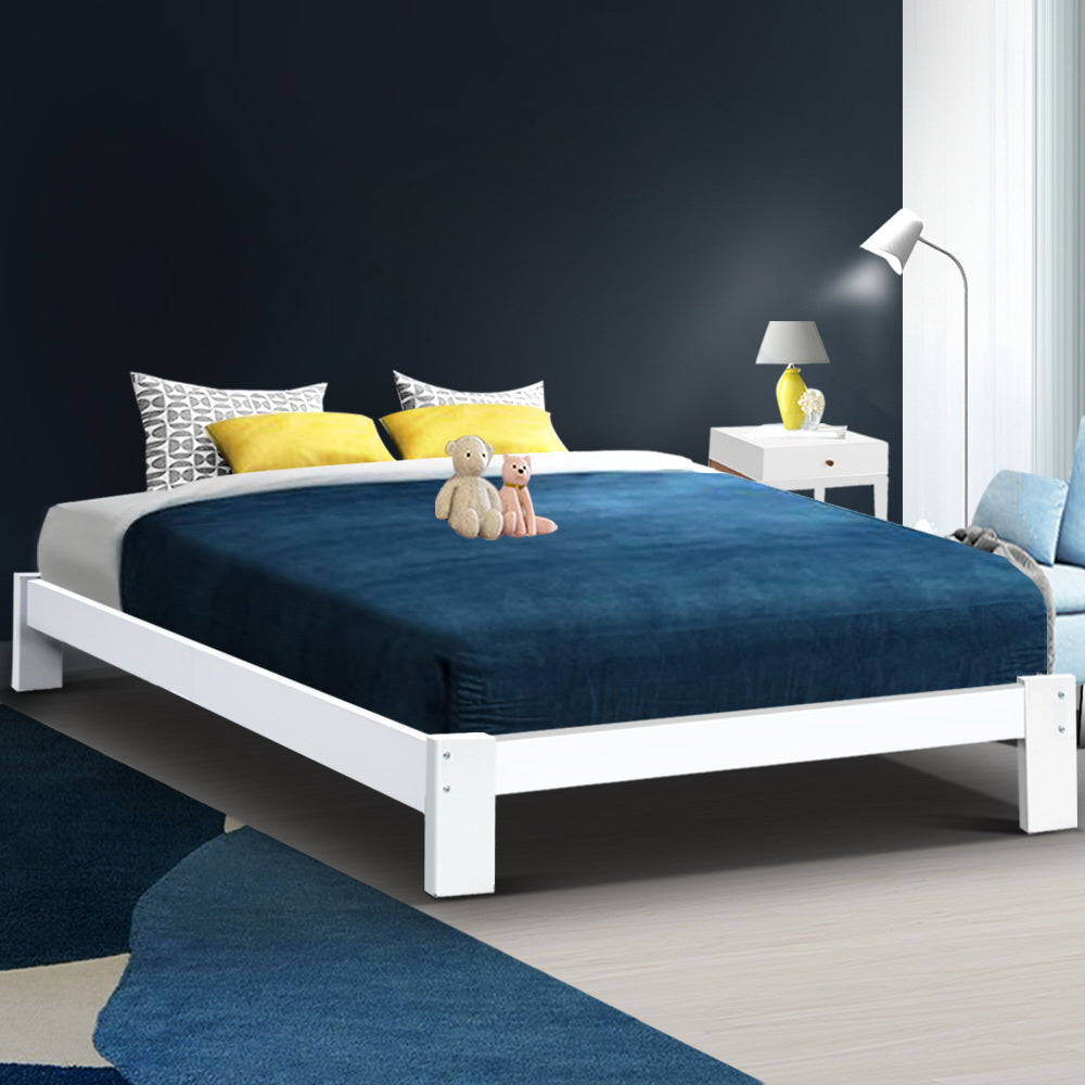 Artiss Double Wooden Bed Frame Base - White (excl-Regional QLD & WA, Far Nth QLD, NT & WA Remote)