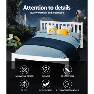 Artiss Double Full Size Wooden Bed Frame SOFIE Pine Timber Mattress Base Bedroom  (excl-Regional QLD & WA, Far Nth Qld, NT & WA Remote)
