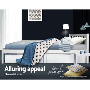 King Single Wooden Bed Frame - White - (Not available in WA, NT and Far NQ)