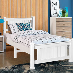 King Single Wooden Bed Frame - White - (excl FNQ, NT & Regional WA)