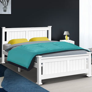 Artiss Queen Size Wooden Bed Frame Kids Adults Timber - (Not available in NT or any remote/regional areas)