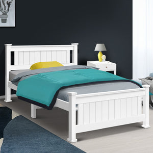 Single Size Wooden Bed Frame - White- (Only available in VIC, NSW, SA & ACT)