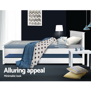 Artiss Wooden Trundle Bed Frame Timber Slat King Single Size White - (Only available in VIC, NSW, SA & ACT)