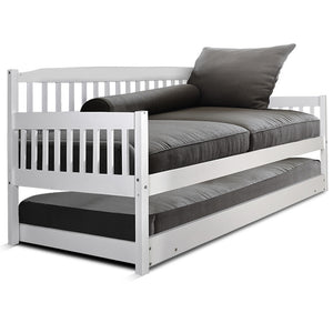 Artiss Single Wooden Trundle Bed Frame Timber Kids Adults - (Not available in QLD, TAS, WA & NT)