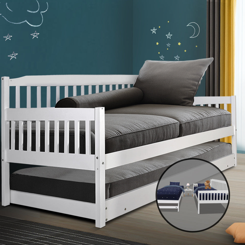 Artiss Single Wooden Trundle Bed Frame Timber Kids Adults - (Not available in TAS, WA & NT or any remote/regional areas)