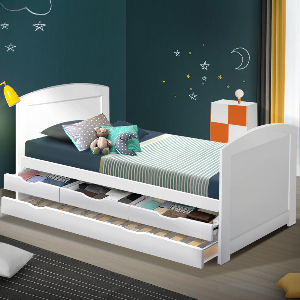 Artiss Single Wooden Trundle Bed Frame Timber Kids Adults - (Not available in WA & NT or any remote/regional areas)
