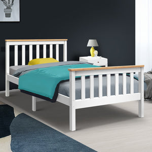 Artiss King Single Wooden Bed Frame Timber  Kids Adults (excl-Regional QLD & WA, Far Nth Qld, NT & WA Remote)