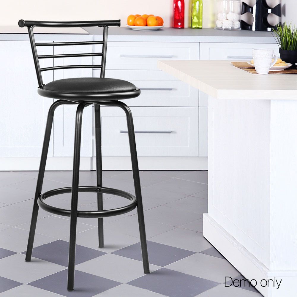 Artiss Set of 2 PU Leather Bar Stools - Black