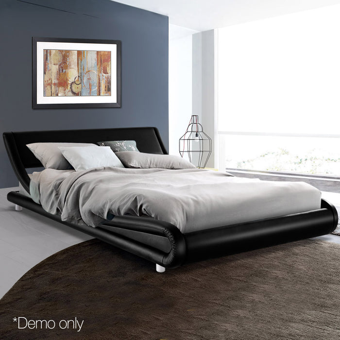 PU Leather Bed Frame Queen Black - (Not available WA, NT and Far NQ)