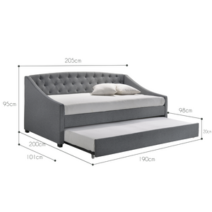Daybed with trundle bed frame fabric upholstery - grey - (Only available in VIC, NSW, SA & ACT)
