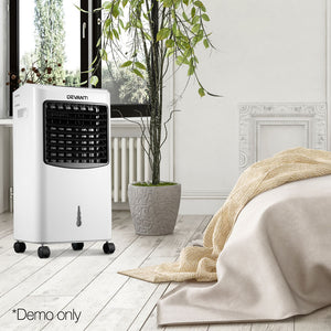 Devanti Portable Evaporative Air CoolerAir Cooler and Humidifier Conditioner - Black & White