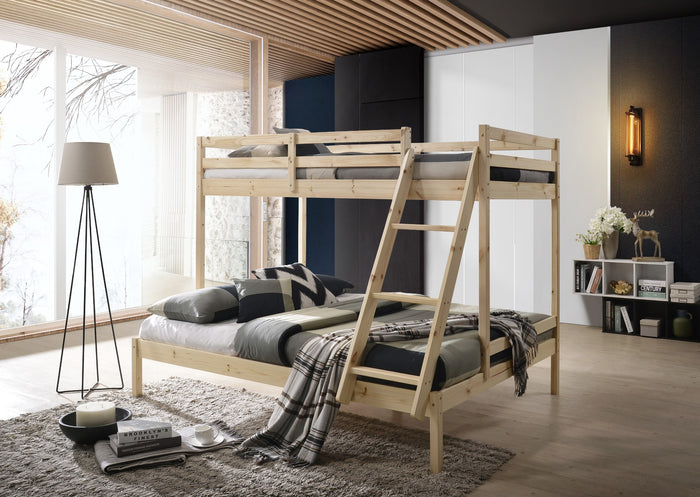 Solid Timber Triple Bunk Bed Single over Double Natural - (Only available in VIC, NSW, SA & ACT)