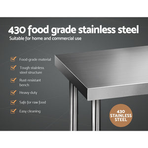 430 Stainless Steel Kitchen Work Bench Table 610 x 1219mm (not available Wa NT & Qld)