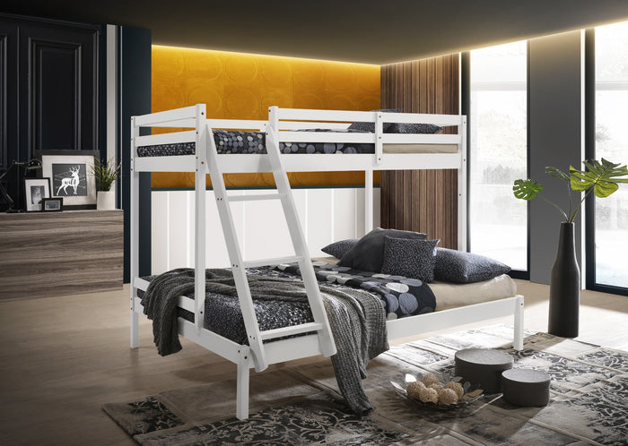 Solid Timber Triple Bunk Bed Single over Double White - (Only available in VIC, NSW, SA & ACT)