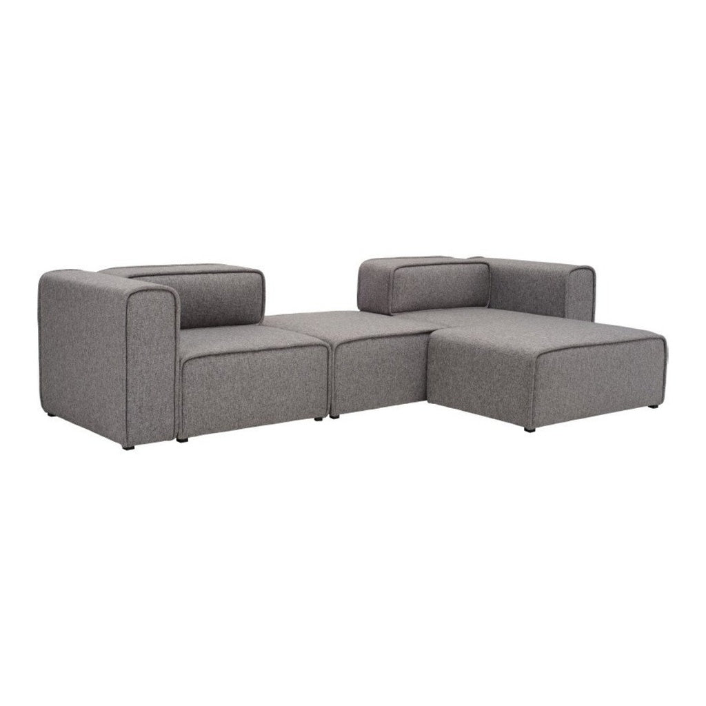 L Shaped 3 Seater Left Sectional Chaise Modern Sofa   Björn   Pebble | GFURN