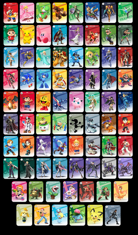 full set of 77 Super smash bros amiibo cards