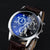 Luxury  Faux Leather Mens Blue Ray Glass Quartz Watches  - Free Shipping