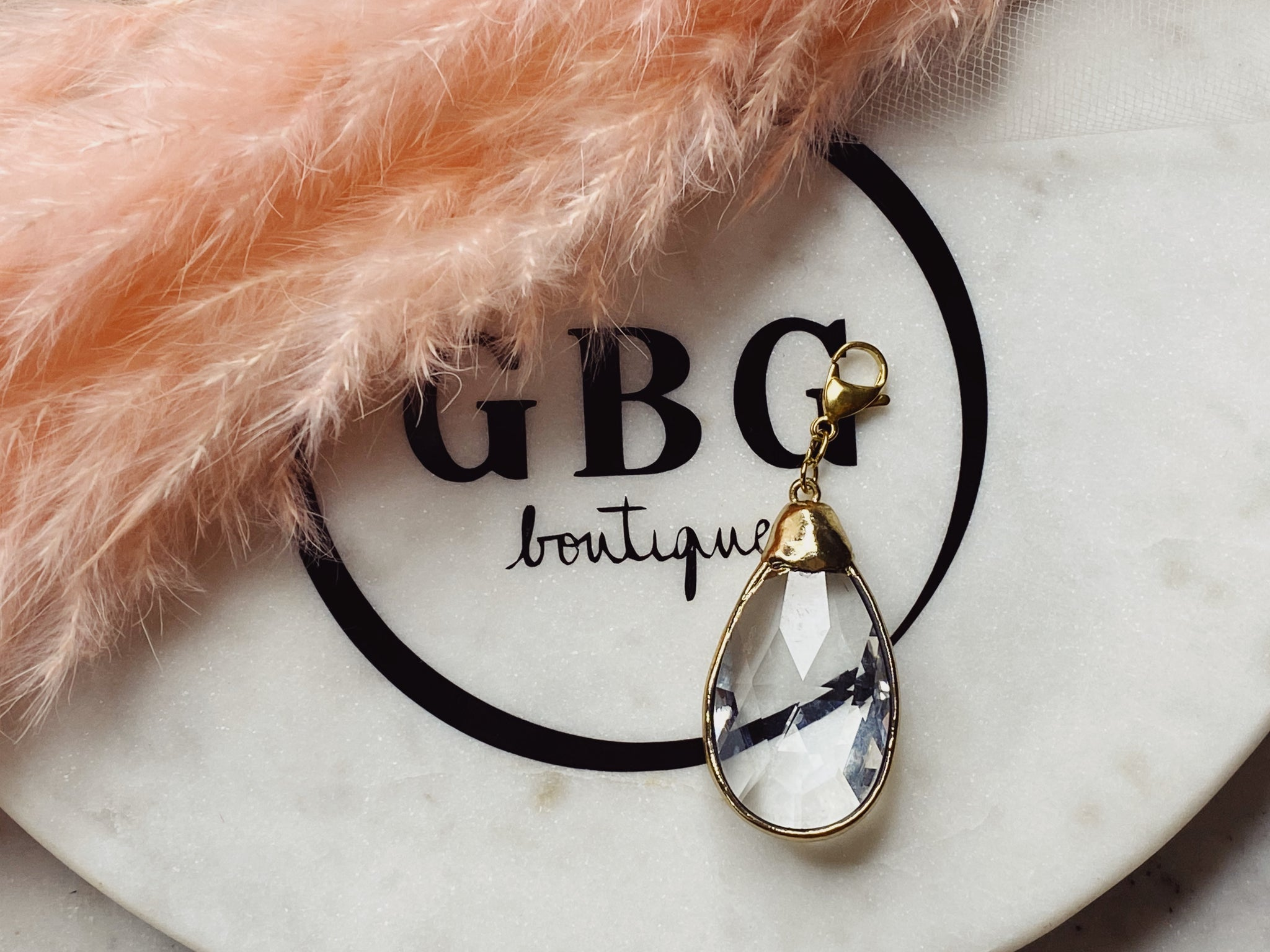 Big golden or silver  edge crystal  drop charm