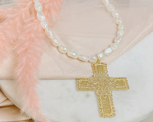 Vintage cross and pearl necklace