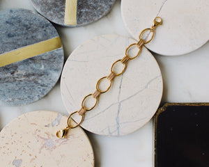 Top oval chain connect bracelet