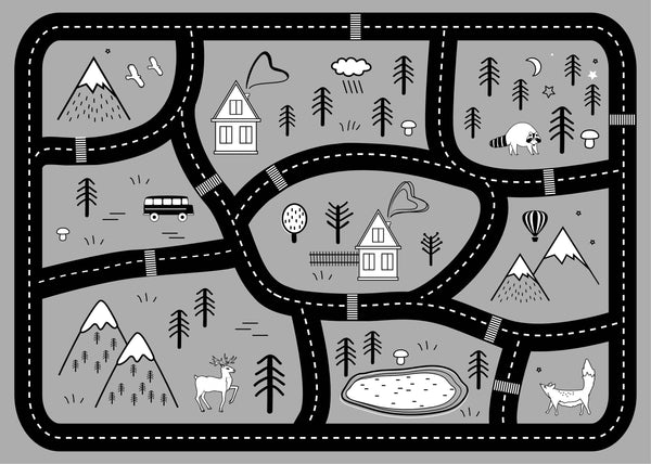 Mountain Roads Play Mat - Grey - Lilli May Collections