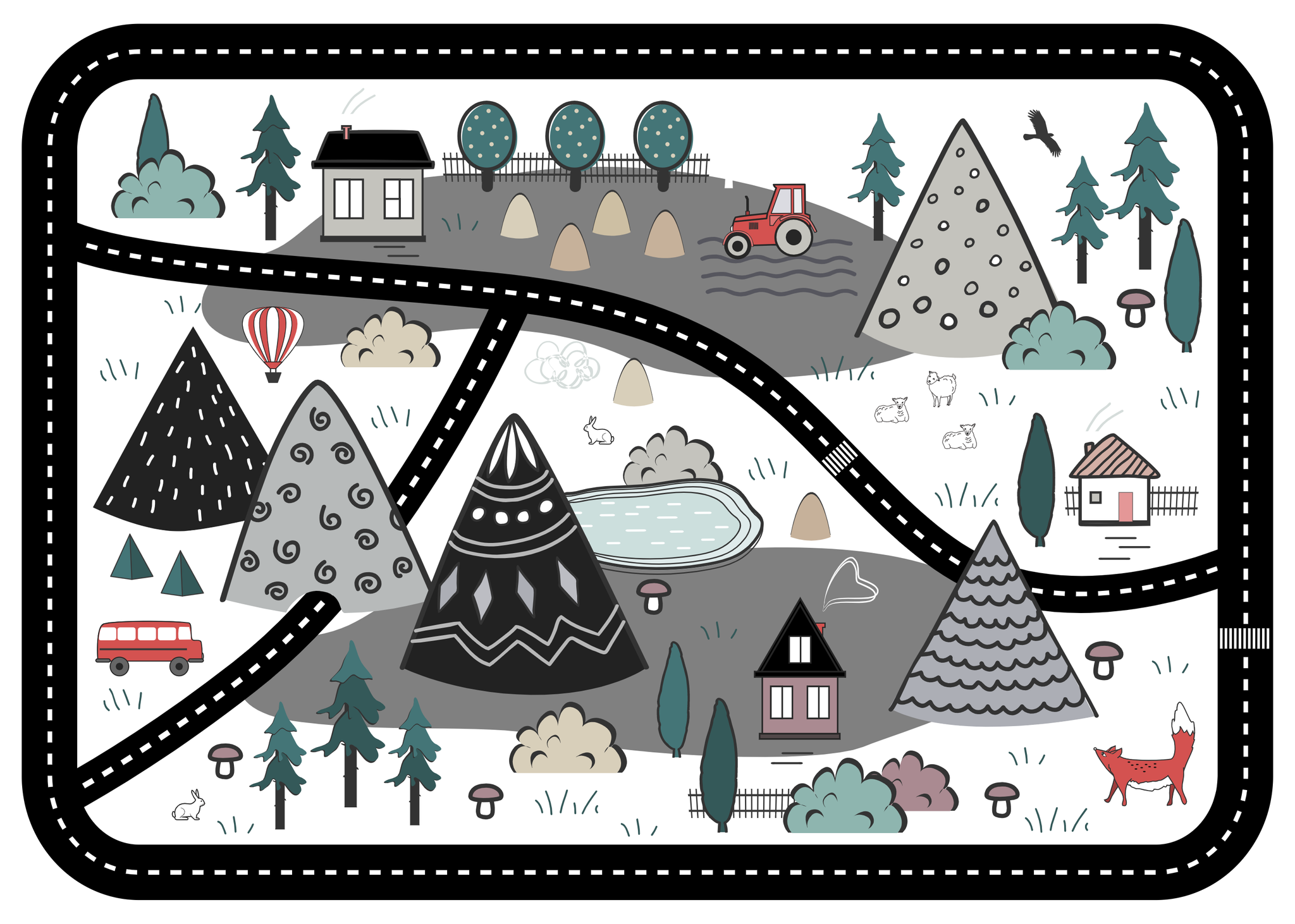 Adventure Awaits Play Mat - White - Lilli May Collections