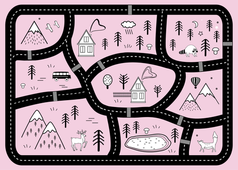 Mountain Roads Play Mat - Pink - Lilli May Collections