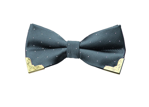 Gold Tipped Gray Bow Tie