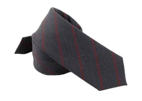 captivating gray and red striped tie