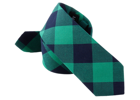 attractive green and blue cotton plaid tie