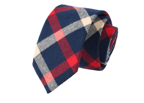 The Americano, Red White and Blue plaid neck tie
